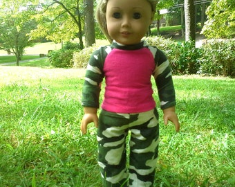18 inch doll camouflage pajamas