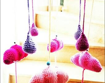 Pinky crochet clouds nursery mobile,nursery hanging,crib mobile,newborn mobile,babyroom mobile,crochet mobile,nursery decors,mobile hangings