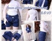BJD SD 1/3 denim shorts + jacket + lace shirt set