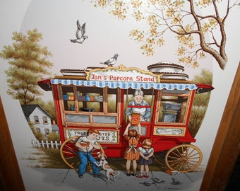 """Signed C.Carlson 16"""" X 12"""" Serigraph Jans Popcorn Stand No 116 of 250"""
