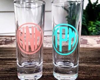 Monogram Shot Glass - Personalized - Custom - 21st Birthday - Bachelorette Party - Sorority - Wedding Shot Glass - Birthday Gift Girls Night