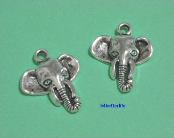 "Lot of 24pcs Antique Silver Tone ""Elephant"" Metal Charms. #JL3877."