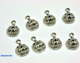 "Lot of 28pcs Antique Silver Tone ""Halloween Pumpkin"" Metal Charms. #JL3753."