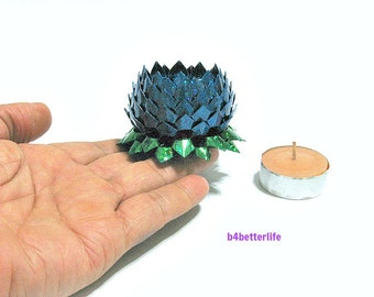 A piece of Small Size Blue Color Origami Lotus. (4D Glittering paper series).