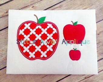 School Apple Machine Applique Design