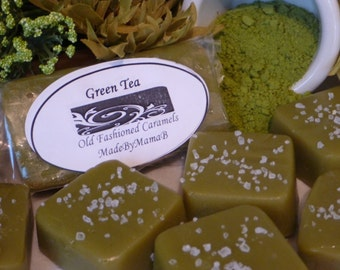 Salted Green Tea ~ Box of 32 extra creamy, Soft, Gourmet, homemade caramels