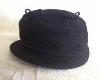 Vintage Black Felt Ladies Hat Glenover Henry Pollack Co New York