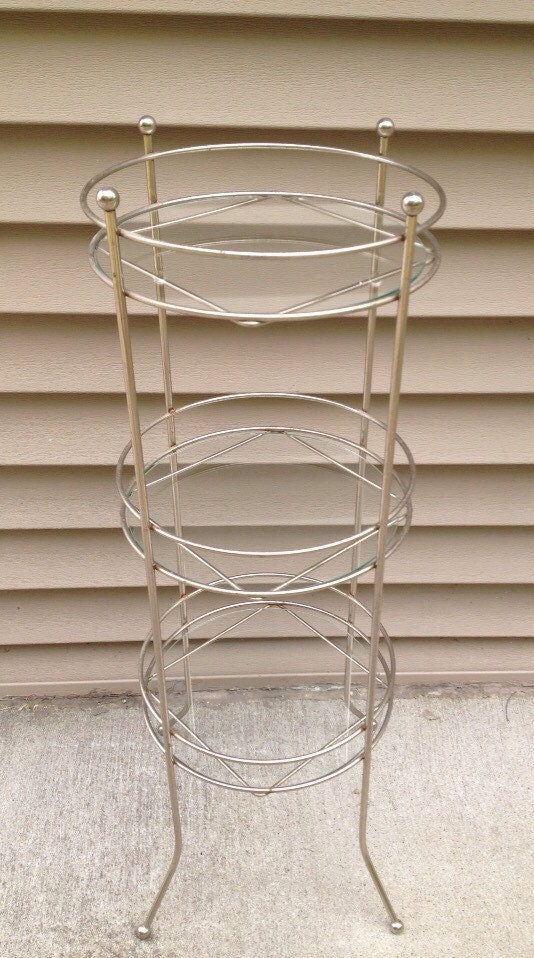 Free Shipping Midcentury Modern Metal 3 Tier Plant Stand