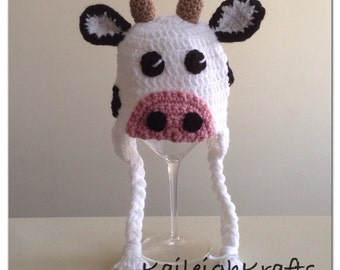 Cow Crochet Hat, Newborn Cow Hat, Baby Cow Hat, Farm Animal Hat, Photo Prop (made to order: newborn to child)