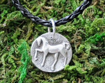 Fine Silver Metal Clay Horse Pendant Charm Aria Necklace