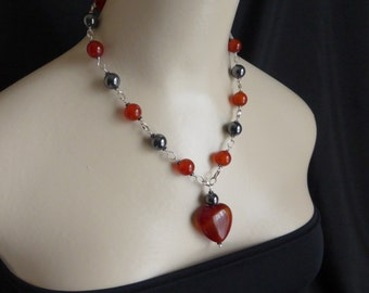 Pretty carnelian heart drop necklace with haematite