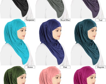 Jersey Viscose Hijab HJ019, 11 Solid Colors, Islamic Wear, Muslim Headgear, Ready to wear Head Band, MyBatua, Modest Clothing