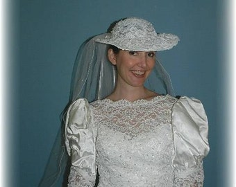 Vintage Lace And Pearl Framed Wedding Hat With Veil