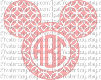 Monogram Mickey Head DIGITAL DOWNLOAD svg dxf jpg png