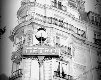 Paris, Paris Wall Art, Black and white, Paris Print, Metro sign