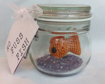 No Fuss Fish - Crochet Goldfish in a glass jar