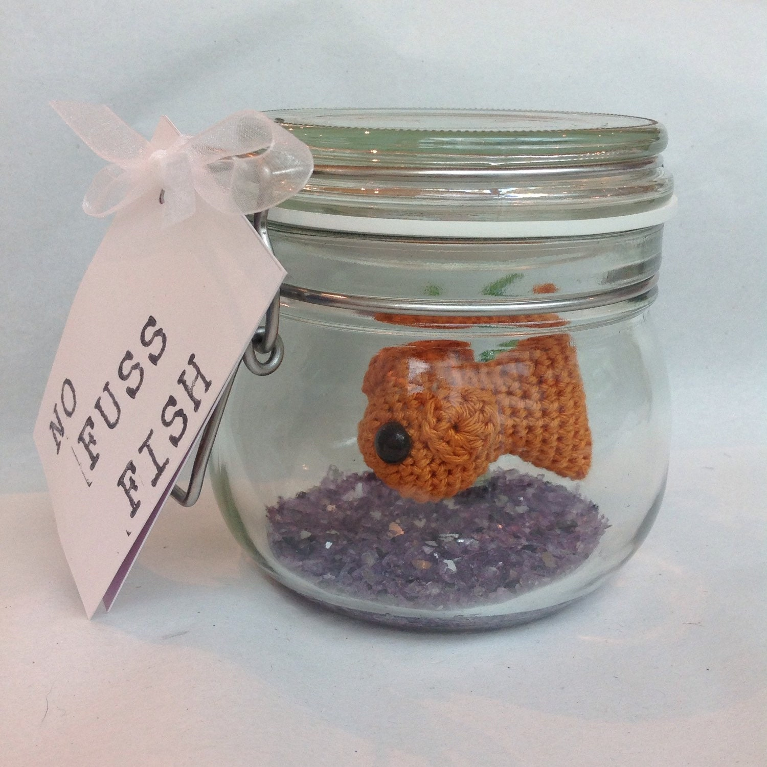 No fuss fish crochet goldfish in a glass jar by edenreborn for Fish in a jar
