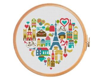 Paris heart sampler France cross stitch pattern - Eiffel tower Louvre arc de Triomphe curasan Notre Dame street cafe wine