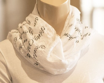teacher gift customized scarf, soft scarf, knit scarves, custom gift for teachers - use students signatures for artwork printed on scarf