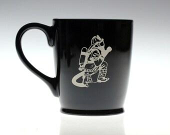 Fireman etched ceramic coffee mug, Firefighter gift, fireman,coffee gift