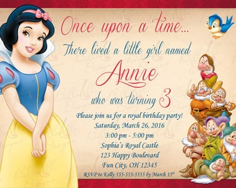 Snow White Birthday Invitation Digital File JPEG DIY