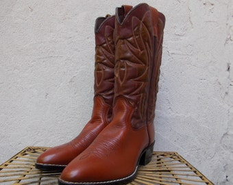 Vintage Cowboy Boots in Caramel Brown, Like New, Never Worn, 8 1/2