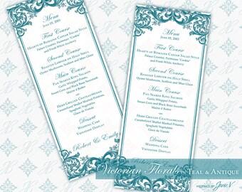 DIY Printable Wedding Menu Template   Printable Menu (tea length)   Victorian Florals in Teal & Antique