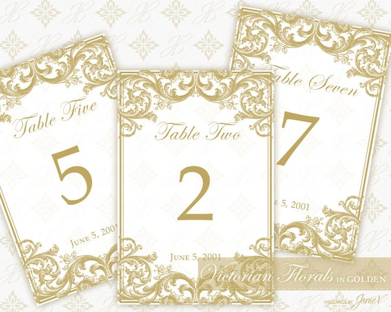 Diy printable wedding table number template printable table diy printable wedding table number template printable table setting dcor victorian florals in golden from weddingsbyjaniev on etsy studio pronofoot35fo Image collections