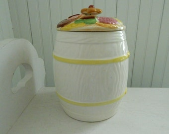 Ceramic White Barrel Cookie Cookie Jar with Wood Grain and Yellow Bands - Perfect for Yellow Kitchen - Vintage 1960's Kitchen Decor