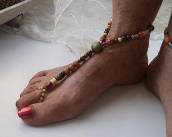 Wood beaded foot jewellery