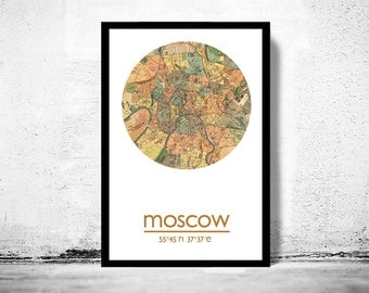 MOSCOW - city poster  - city map poster print