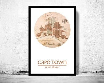 CAPE TOWN - city poster - city map poster print
