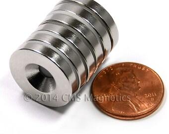 "6 Piece N42 Neodymium Magnet Dia 3/4X1/8"" /w #8 Countersunk Hole ND044-42NM-#8"