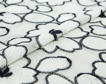 Embroidery silk Georgette fabric, floral pattern, fairly sheer, white and black, sew for top, shirt, blouse, dress, craft by the yard