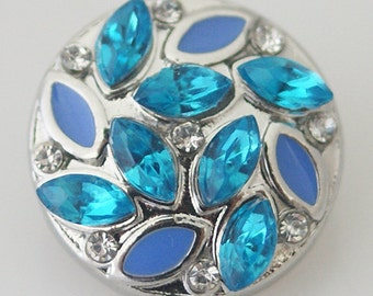 KB8029   Turquoise Crystal Chunk Ovals w Smaller Clear Crystals