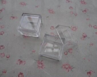 set of 10--mini clear plastic box--square plastic box--plastic jewelry box--25x25x18mm--OC3045-10