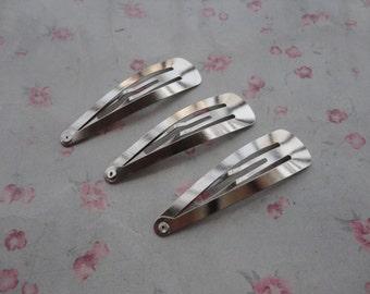 100pcs silver gray color metal snap clip , metal hair snap clip , 55x15mm , HA3111-100