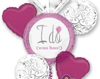 Bride Balloon Bouquet, Bridal Shower Balloons, Bachelorette Party Balloons, I Do Balloons, I Do Woo Hoo Balloons