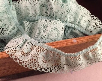 Vintage Light Green Ruffled Lace 6 Yards