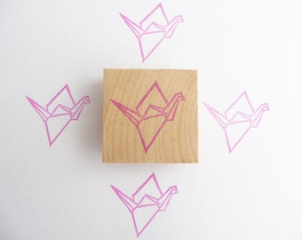 Origami crane hand carved rubber stamp