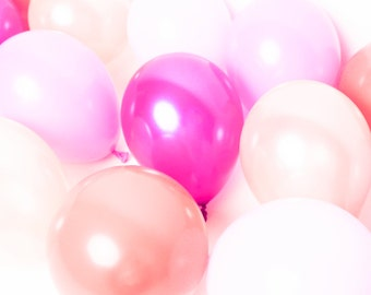 Mini Balloons - Pink Party Mix - Birthday Party / Baby Girl Shower / Gender Reveal Party / Hot Pink Peach Coral / Small