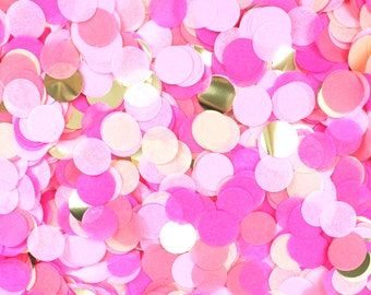 """Tissue Paper Confetti - Pink Party - Hot Pink Peach Coral Blush Metallic Gold - 1"""" Circle - ..."""