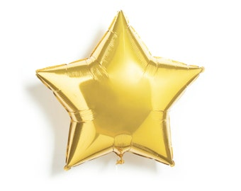 "Gold Star Balloon - Foil Mylar - 20"" - First Birthday Party, New Years Eve, NYE, Wedding Shower, Baby Shower, Helium Balloon"