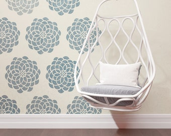 Decorative flower wall stencil