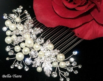 Crystal pearl bridal hair comb, bridal hair comb, wedding pearl crystal hair comb, bridal hair comb,  wedding comb, bridal comb
