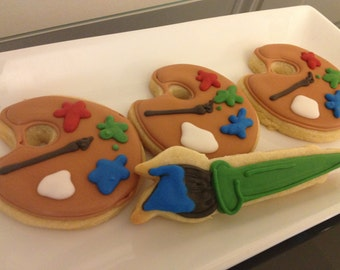 Paint Palette and Paint Brush Cookies