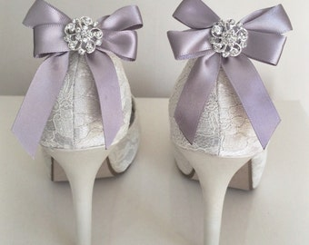 Pair of silver Shoe Clips, Shoe Accessories, bow Shoe Clips, Satin Shoe Clips, silver