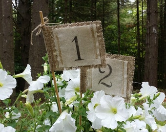 Burlap and Fabric Table Number Flags, Rustic Wedding Decor, Burlap Wedding, Burlap Centerpieces, Table Number Pennants,