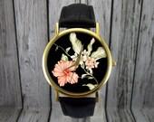 Hibicus Flower Watch | Floral Watch | Women's Watch | Men's Watch | Gift for Her | Gift Idea | Custom Watch | Fashion Accessory