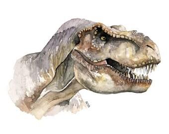 "T-Rex Painting - Print from Original Watercolor Painting, ""T-Rex"", Dinosaur, Jurassic Park, Jurassic World, Tyrannosaurus Rex"